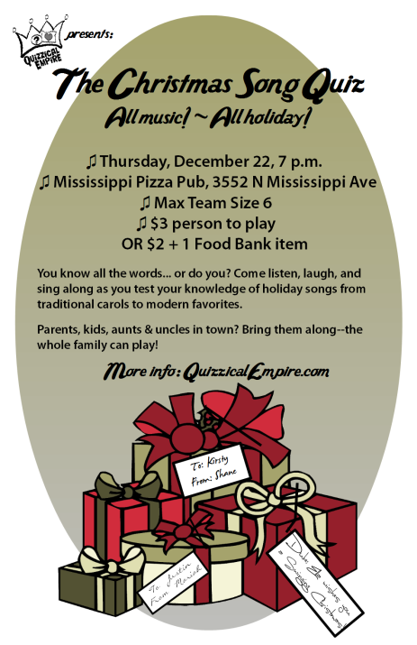 Christmas Song Quiz Dec 22 at Mississippi Pizza